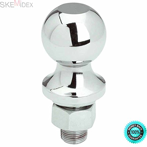 SKEMiDEX--- 2000 LBS Trailer Hitch Ball 1-7/8'' x 3/4'' x 2'' Towing Hauling RV Trailer Truck Chrome Plated with Solid Steel 1-7/8'' x 3/4'' x 2'' 2,000 Pound Rating Included Washer & Nuts