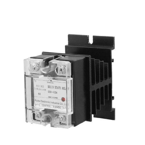 DC-AC DC 3-32V to AC 24-480V 40A Single Phase SSR Solid State Relay w Heat Sink