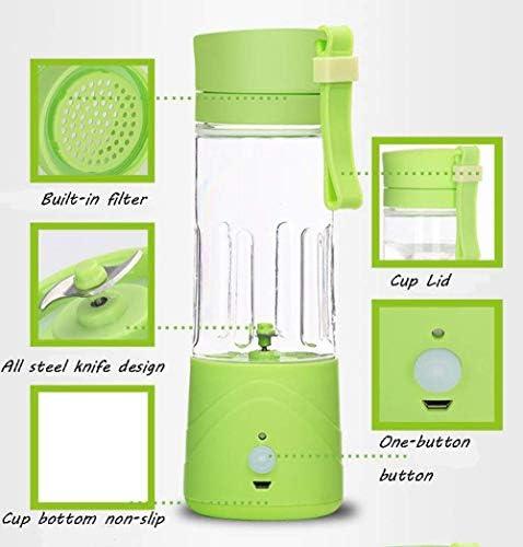 Mini exprimidor doméstico recargable portátil multifuncional taza de zumo de fruta pequeña eléctrica con alta resistencia a la temperatura, fruta verde KaiKai (color azul cielo)