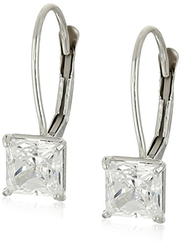 10k White Gold Princess-Cut Leverback Earrings Made with Swarovski Zirconia 1 cttw