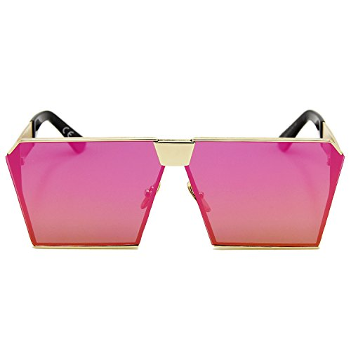reflectante Espejo amztm lente para efecto Gafas tamaño las cuadrado gran Rojo sol de mujeres polarizada de fqwqxt4TE