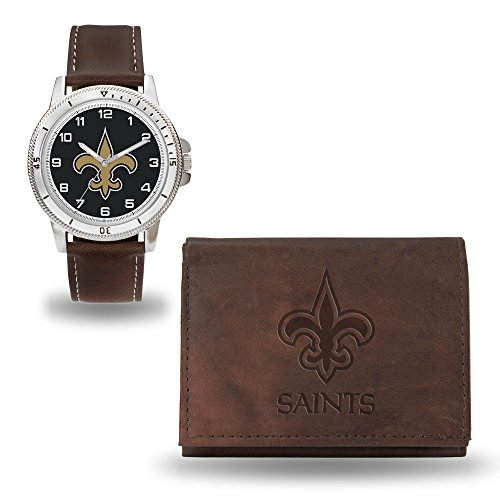 NFL New Orleans Saints Men's Watch and Wallet Set, Brown, 7.5 x 4.25 x 2.75-Inch -