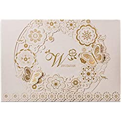 PONATIA 25 PCS MR & MRS Laser Cut Square Wedding Party Invitations Cards Set with Lace Flowers for Engagement Wedding Party (White Gold Bride and Groom)