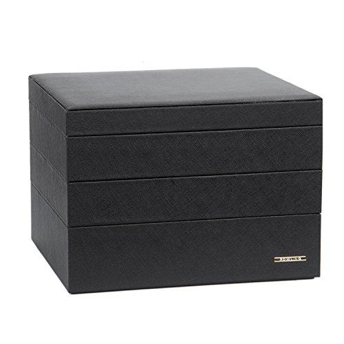 ROWLING 3 getrennte Koffer Schmuckkästchen Schmucklade Schmuckständer Schmuckkoffer ZG00232 (schwarz) -