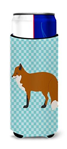- Caroline's Treasures BB8050MUK Red Fox Blue Check Decorative Can Hugger, Slim, Multicolor