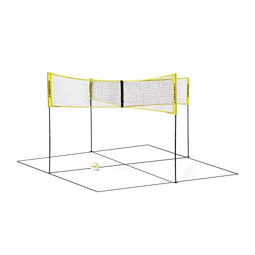CROSSNET Four Square Volleyball Net and Game Set with Carrying Backpack & Ball