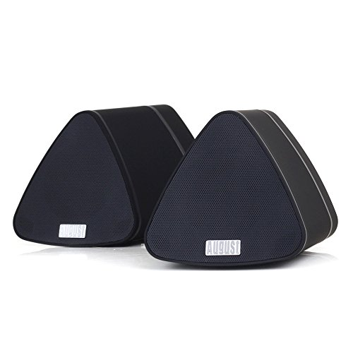August MS515B Dual Speaker Portable Bluetooth Stereo Speakers –2x5W Wireless Speaker Pair for Phones, Tablets, TVs and PCs – Apple, Android, Windows and Mac Compatible (Black)