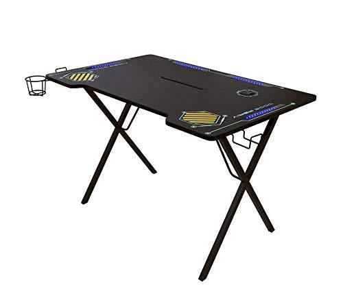Atlantic Gaming Desk Viper 3000 – Computer Gaming Desk, LED Illumination, Three USB 3.0 Ports, Tablet Phone Slot, Cup Holder, Dual Headphone Hooks, Storage Tray, Satin Finish Surface, PN33906164