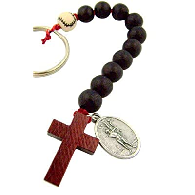 One Decade Wood Rosary with Saint Sebastian Medal Key Chain for Baseball Athlete: Automotive