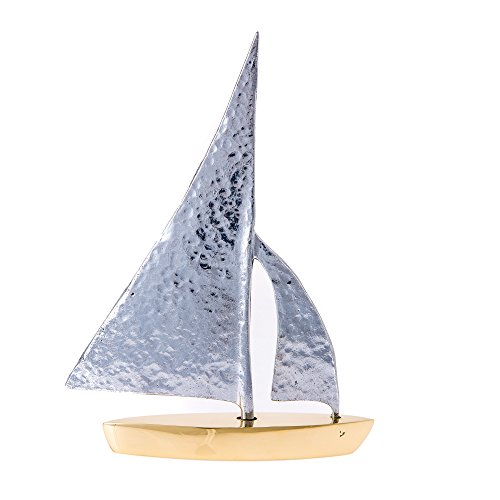 EliteCrafters Handmade Solid Aluminum & Brass Metal Sailboat, Hammered Sail Design, Table top Decorative Nautical Ornament, 7'' (18cm) Tall