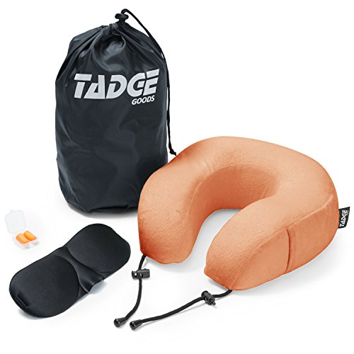 Tadge Goods Neck Travel Airplane Pillow & Accessories - 100% Pure Memory Foam - Sleeping Eye Mask, Ear Plugs, Travel Bag Included - 10 Colors to Choose from