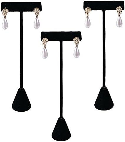 """3 Earring T Stand Black Velvet Showcase Display 6.75/"""""""