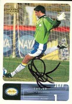 Autograph Warehouse 64023 Jeff Cassar Autographed Soccer Trading Card Mls Soccer 2000 Upper Deck No. 54