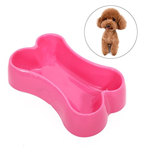 UEETEK Pet Dog Cat Food Water Bowl Tray Large and Small Animal Food Feeder Bone-shaped Design