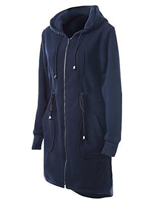Choies Women Navy Zip Up Fleece Mid-Long Drawstring Safari Anorak Hooded Jacket