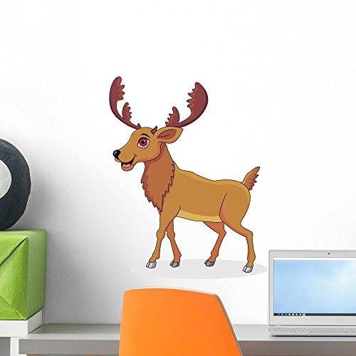 Happy Moose Cartoon Wall Decal by Wallmonkeys Peel and Stick Graphic (18 in H x 14 in W) WM48675 (Moose Cartoon)