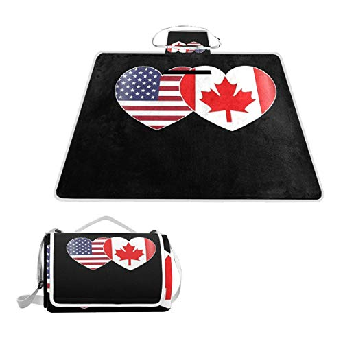 SLHFPX Canada USA Flag Twin Heart Picnic Blanket Outdoor Picnic Blanket Tote Water-Resistant Backing Handy Camping Beach Hiking Mat 57