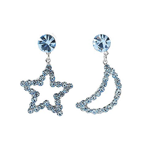 Glamorousky Star & Moon Earrings with Light Blue Austrian Element Crystals and CZ bead - Crystals Austrian Moon Pewter