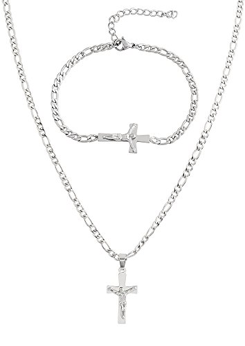 EDFORCE Stainless Steel Women's Men's 20 inch Figaro Link Chain Cross Necklace with Matching Bracelet (Silver)