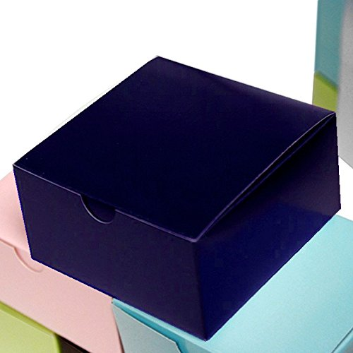 BalsaCircle 100 4 x 4 x 2 Navy Blue Cake Wedding Favors Boxes with Tuck Top for Wedding Party Birthday Candy Gifts Decorations