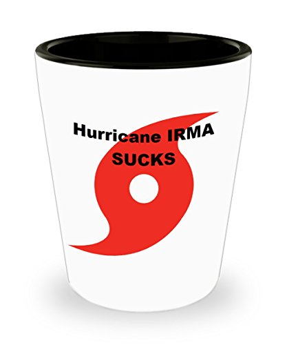 Funny Shot Glass - Hurricane Irma Sucks Ceramic 1.5 oz. Custom Printed Shot Glass Collectible Novelty Funny Gag Gift