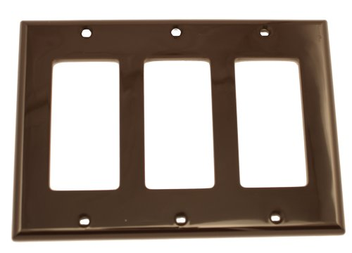 Leviton Decora Nylon 3 Gang - Leviton 80411-N 3-Gang Decora/GFCI Device Wallplate, Standard Size, Thermoset, Device Mount, Brown