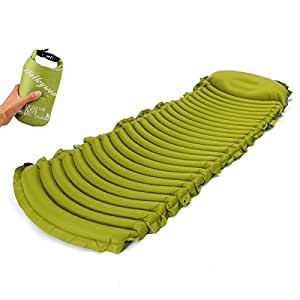 Leve Lightweight Compact Air Sleeping Pad with Built-in Pillow Standard Camping Pad 75 inches Air Mattresses Green