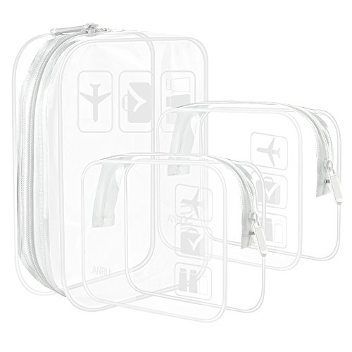 Small Clear Cube - ANRUI Clear Toiletry Bag TSA Approved Travel Carry On Airport Airline Compliant Bag Quart Sized 3-1-1 Kit Travel Luggage Pouch 3 Pack (White)
