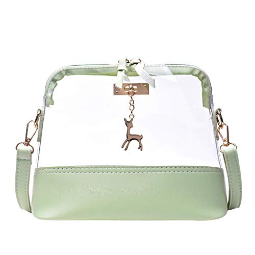 - Rakkiss Women Transparent Crossbody Bag Fawn Pendant Shell Shoulder Bag Messenger Bag