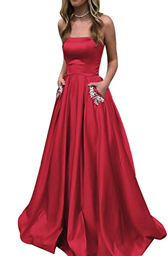 2019 Satin Strapless A-line Long Semi Formal Gowns with Beaded Pockets Prom Dresses HFY194-Red-US2