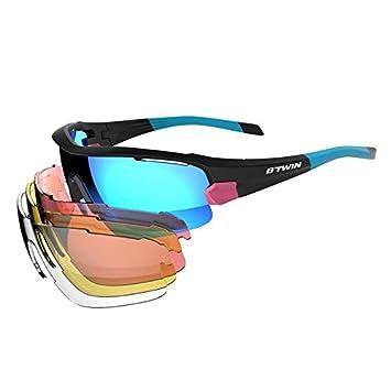 150a6ca9a4 DECATHLON BTWIN Ciclismo 900 gris unidades adulto ciclismo gafas de sol 4  lentes intercambiables, negro