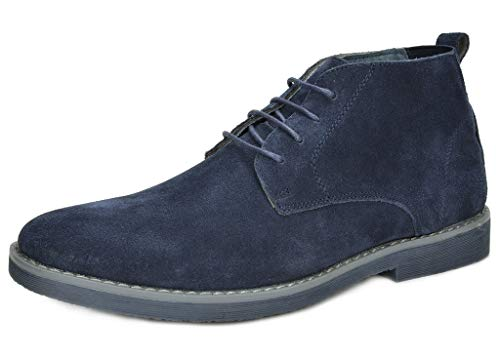 Winter Boots Navy (Bruno Marc Men's Chukka Navy Suede Leather Chukka Desert Oxford Ankle Boots - 9.5 M US)
