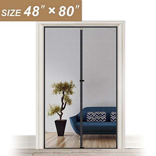 - Hanging Screen Door Curtain 50 x 81, Mosquito Door Screen Magnet Fit Doors Size Up to 48