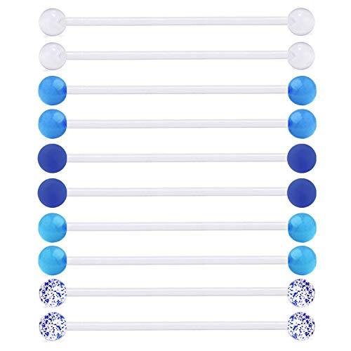 - MODRSA 10pcs Clear Industrial Barbell Earring 14G Bioflex Cartilage Earring Retainer 38mm Piercing Bar
