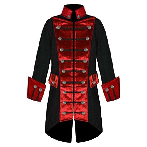 Mao Double Veste Homme Rera Capuche Rouge Costume Jacket Tailcoat Manteau Fit Longue De Steampunk Cosplay Queue Boutonné Gothique Manches Longues Morue Coat Slim Halloween Col Z6qq5xw