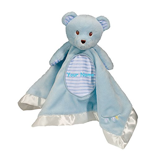 Personalized Douglas Blue Bear Snuggler Baby Blanket Blanky - 13 Inches