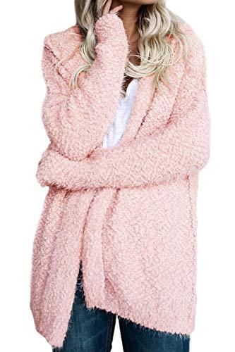 con Pink Mujer Color Elegante Invierno Especial Manga Anchos Estilo Gabardina Capucha Sólido Casual Outerwear BoBoLily Cardigan Chaqueta Larga P4TFA4xn