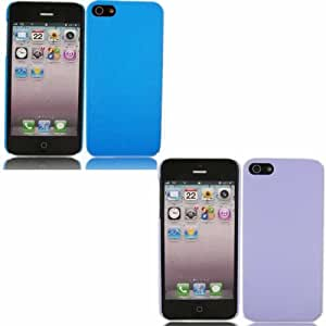 2 Pack Hardback Case Cover Skin For Apple iPhone 5 / Blue And Purple