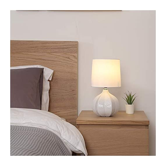 "SOTTAE Modern Style Small Ceramic Milk Color Unique Desgin Bedside Table Lamp, Cute Desk Lamp with White Fabric Shade for Livingroom Bedroom - Small cute size: Diameter: 7.09"", Height:13.2"", Attention: please clearly the size when you look through our product. Input: AC 110V - 120V. Lamp Can be used with LED, CFL, Incandescent Medium base bulbs(Bulbs are not included). Elegant design: Modern style, simple and chic ceramic lamp body with white fabric lampshade. - lamps, bedroom-decor, bedroom - 41I9yicAqdL. SS570  -"