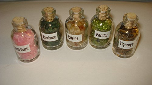 (** Brand New Item 2015 **) 5pc Premium Quality Assortment (#1) Gemstone Chips Healing Crystal Collectible Bottles with Cork Top