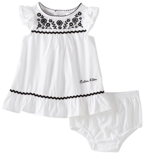 Calvin Klein Baby-girls Newborn Cap Sleeve Dress With Panty, White/Black, 3-6 Months