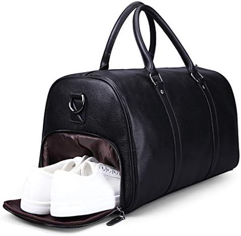 独立した靴 革素材堅牢性と耐久性ブラック、ブラウンと多機能ポータブル大容量トラベルバッグ HMMSP (Color : Black)