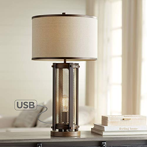 Otto Industrial Farmhouse Table Lamp with USB Charging Port and Nightlight LED Edison Bulb Antique Brass White Drum Shade for Living Room Bedroom Bedside Nightstand Office - Franklin Iron Works