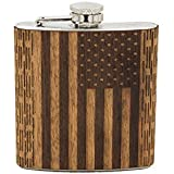 WUDN American Flag Real Wood 6oz Hip Flask. Handcrafted In Pittsburgh PA From 100% Locally Sourced Wood