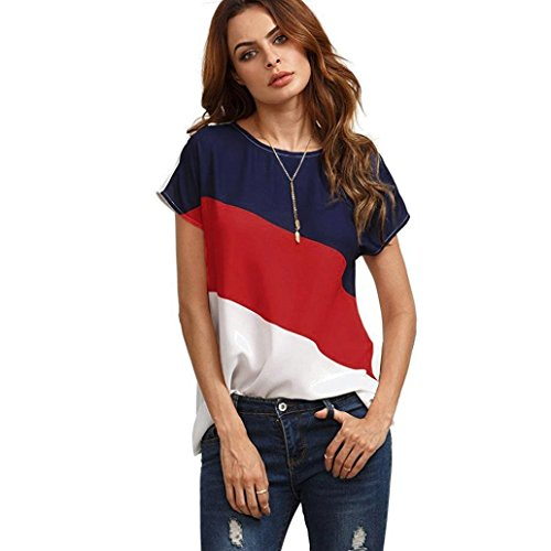 Alixyz Women's Chiffon Short Sleeve Color Block Casual Blouse Fashion Tops Shirts (Red, M(US size 8-10))