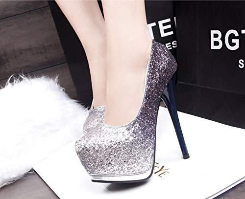 Pour Platform Heel Soirée Femmes Zhangzhiyua Chaussures C Glitter Dress De Chunky B1H8n78Wq