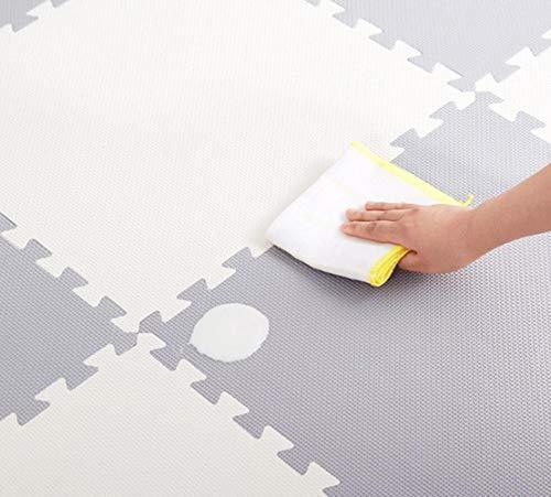QXMEI Stitching High Elastic Foam Pad Puzzle Mat Children's Mat Crawling Mat Baby Bedroom Slip,Beige+Gray by QXMEI (Image #2)