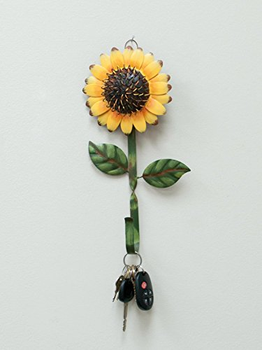 New Metal Sunflower Home Hook Great Home&Kitchen Keys,Coats,Utilities Hook Decor by GRACE HOME 3 Metal hook with sunflower design Sturdy and Durable: Metal sunflower hook, about 11 inches long, and the flower is 5 and 1/2 inches across. The hook/stem part is about 0.5 inch wide Multi-Purpose Hooks: You can hang your towel, keys, leashes, hat or other small items and it also provides you the ability to decorate your house while using a practical accessory