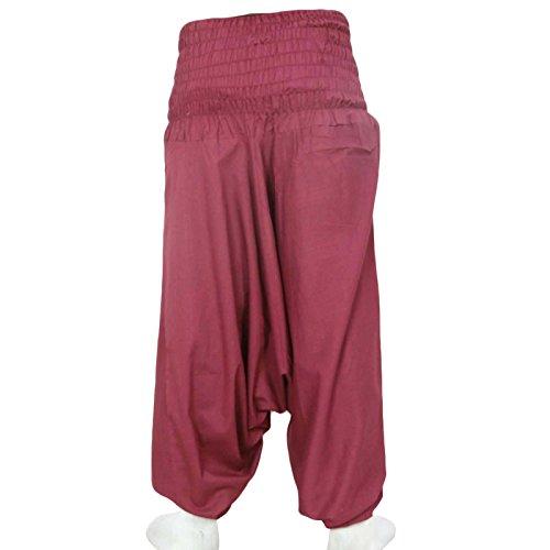 pantalones de harén de yoga boho gitana sueltos pantalones holgados rayón las mujeres pijamas de playa harén Bordeaux