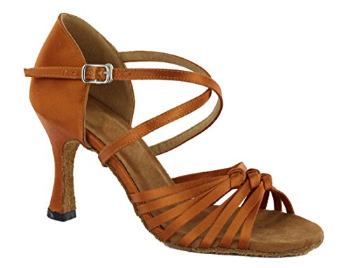 Salsa Dance TDA Knot Ballroom Modern Women's Latin Tango Satin Ankle Brown Wedding Strap Shoes XxrfqBX